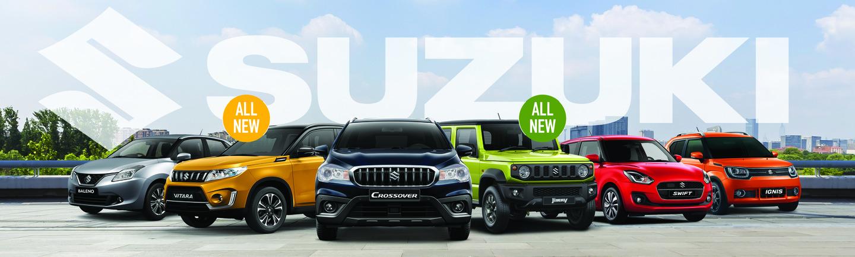 בתמונה - דגמים של מכוניות סוזוקי: איגניס, סוויפט, ג'ימני, קרוסאובר, ויטרה ובלנו